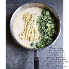 Mais uma refeição que só suja uma panela! Praticidade é aqui! Primeiro, refogue o alho na manteiga e no azeite, em fogo médio, por 1-2 minutos. Em seguida, adicione o macarrão, o caldo, o leite e o brócolis. Leve para ferver com a tampa fechada por 10 minutos. Retire a tampa, acrescente o queijo e deixe cozinhar por mais 10 minutos, até que boa parte do líquido tenha evaporado e sido absorvida pelo macarrão e brócolis.  Tempere com sal e pimenta, decore com um pouco de salsa picada e um de