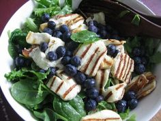 blueberries, avocado and halloumi.