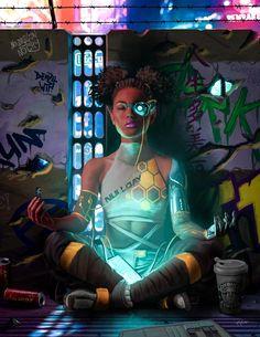 Shadowrun Decker Deep Dive by raben-aas on DeviantArt – Cyberpunk – Bilder Cyberpunk 2077, Cyberpunk Girl, Cyberpunk Fashion, Cyberpunk Tattoo, Cyberpunk Anime, Shadowrun Decker, Character Concept, Character Art, Concept Art