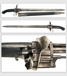 Combination Lefauchaux Pinfire Revolver and Sword.      Dated: circa 1800. Manufactured in Paris, France, this weapon combines a short bladed sword with a six-shot pepperbox revolver. The blade has a short double fullers leading to single fullers which run the rest of the length, panels of etched scrollwork on each side.
