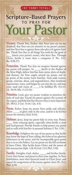 Scripture based prayers to pray for your pastor