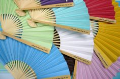 Hand fans paper folding full color promotional paper fans Personalized Premium Paper Hand Fans W Side Handle Print 10 PackCustom Paper Hand Fans DeluxeCustom Paper… Hand Fans For Wedding, Wedding Program Fans, Jw Gifts, Paper Fans, Paper Folding, Colored Paper, How To Memorize Things, Handle, Favors