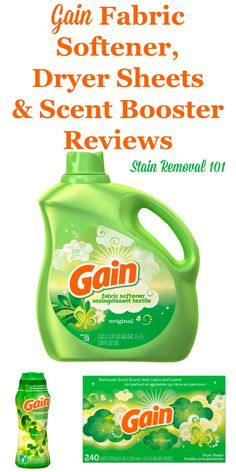 Here is a comprehensive guide about Gain fabric softener, dryer sheets and scent boosters, including reviews and ratings of this brand of laundry supply for many different scents and varieties {on Stain Removal 101} Cleaning Items, Homemade Cleaning Products, Household Items, Cleaning Hacks, Laundry Supplies, Laundry Hacks, Cleaners Homemade, Fabric Softener, Cleaning Solutions