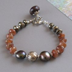 djs Sunstone Pyrite Sapphire Gemstone Pearl Sterling Silver Bracelet Sundance