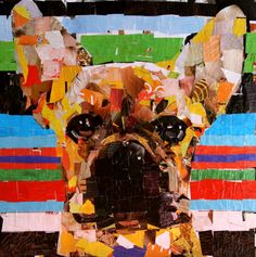 """French Bulldog. Collage on Canvas. 24"""" x 24"""" 2011."""