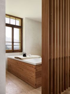 Image 7 of 22 from gallery of House ERG / Ralph Germann architectes. Photograph by Lionel Henriod Wood Bathroom, Bathroom Layout, Bathroom Furniture, Interior Decorating, Interior Design, Bath Design, Beautiful Bathrooms, My Dream Home, Home And Living