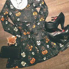 The cutest Halloween kitty skater dress <3