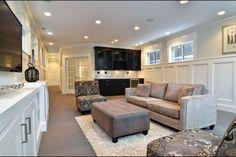 Finished basement W/ light grey on top (match entry stripes)