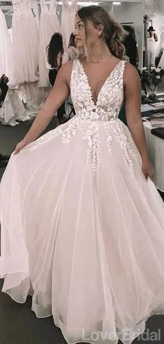 Backless V-Neck Lace A-line Cheap Wedding Dresses Online, Cheap Bridal – SposaDresses V Neck Wedding Dress, Cute Wedding Dress, Lace Mermaid Wedding Dress, Dream Wedding Dresses, Wedding Dress Backless, Spring Wedding Dresses, Wedding Dress For Short Women, Wedding Gown A Line, Weeding Dresses