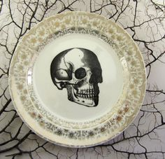 Victorian Skull and Gold Filigree Bread Plate by Austin Modern