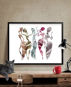 African Dancers Abstract Wall Art Dancers by FineArtCenter on Etsy