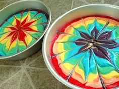 How to make a rainbow tye-die double layer cake {Reality Daydream}