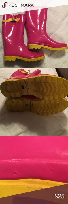 Bamboo pink & yellow rain boots Bamboo pink & yellow rain boots with yellow knit lining and adjustable calf tabs. They're size 8.5 but run big so easily fit a size 9. On one outer lower edge there are 2 small marks but there is no tear in the rubber as shown in picture 4. They look great on rainy days with skinny jeans. Worn only 2-3 times. Bamboo Shoes Winter & Rain Boots