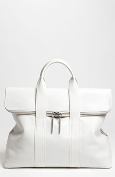 phillip lim 31 hour tote in white Beautiful Handbags, Beautiful Bags, Look Fashion, Fashion Bags, Fashion Shoes, Girl Fashion, Phillip Lim, Clutch Wallet, My Bags