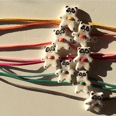 Braccialetto in porcellana con Panda dipinto a mano : Braccialetti di monila-handmade
