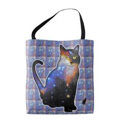 """""""Andromeda"""" Space In Cat Tote Bag - Perhaps you've heard of Cats In Space? I now present """"Space In Cats"""". Cute cats filled with colorful galaxies, nebula, stars, and deep space vistas. Enjoy using this tote bag knowing that you are future fashion forward. 50% OFF TOTES – Use Checkout CODE: READY4SCHOOL until Midnite 8-05-16. Over 2700 products at my Zazzle online store. Open 24/7 World wide! http://www.zazzle.com/greg_lloyd_arts*?rf=238198296477835081"""