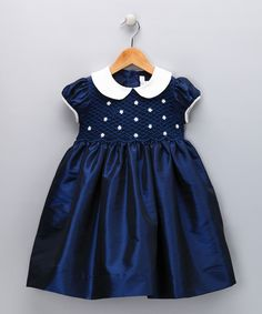 Navy & Ivory Daisy Smocked Dress - Infant, Toddler & Girls | Daily deals for moms, babies and kids