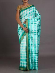 Neerja Green Zari Border Full Shibori 100% Organic Dyed #KosaSilkSaree