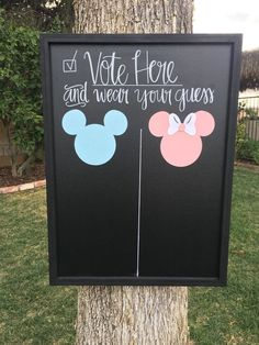 Gender Reveal Banner Chalkboard. Mickey and Minnie by MyLaRoux