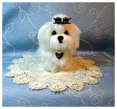 Custom Dog Pet Sculpture Maltese needle by DreamwoodArtDesigns, $139.00.  This one is a Maltese, one of my favorite breeds.