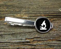 Microscope Science Tieclip-Wedding-Jewelry Box-Silver-Keepsake-Man gift-Graduation-Men-Groom-Groomsmen-Scientist-Physics-Chemistry-Nerd by CynthiaCoolBeans on Etsy
