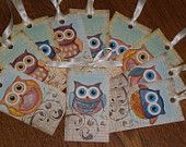 Set of 10 Assorted Owl Scrapbook Place Cards Hang Tags Gift Ties Scrapbooking Ornies