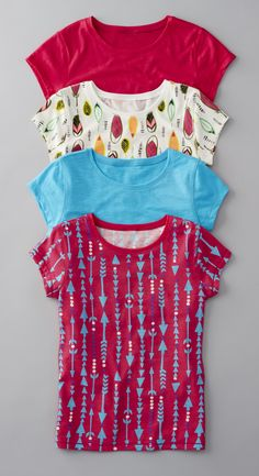 Trend-right prints, striking colors and a classic silhouette make these tees the perfect match for her go-to jeans.