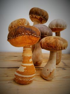 hand stitched mushroom soft sculptures using rust dyed cloth - Jule Mallett of www.hengrels.co.uk
