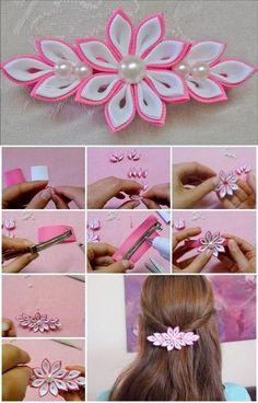 Diy Ribbon Flowers, Ribbon Flower Tutorial, Kanzashi Flowers, Ribbon Art, Fabric Ribbon, Ribbon Crafts, Felt Flowers, Flower Crafts, Fabric Flowers