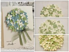 The Card Concept #16 - Hydrangea Wedding | Dietrich Designs - A tutorial on how to create a bridal shower or wedding card that features a paper hydrangea bouquet, using a Martha Stewart punch.