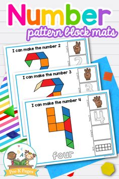 44 pages of printable pattern block number mats to help your preschool, pre-k, or kindergarten students practice numeral identification, counting, and more! Use these number pattern block mats as a small group activity or place them in your math center. Small Group Activities, Math Activities, Preschool Math, Kindergarten Classroom, Concepts Of Print, Pre K Pages, Number Patterns, Number Sense, Early Education