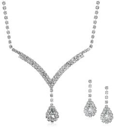 Prom Jewelry Necklace earring Crystal Rhinestones V Drop Silver | Shop Abide
