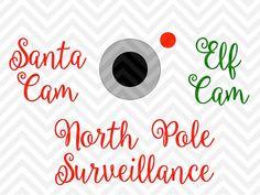 Santa Cam Elf Cam Christmas Tree Ornament North pole surveillance SVG file - Cut File - Cricut projects - cricut ideas - cricut explore - silhouette cameo projects - Silhouette projects by KristinAmandaDesigns