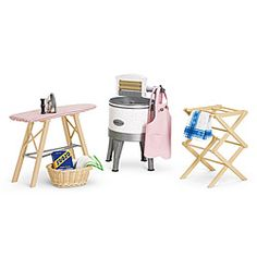 american girl doll furniture  kit's mom's washing machine and laudry room needs
