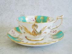 Vintage Teacup and Saucer in Turquoise Blue and Gold by Royal Chelsea, Ornate Heavy Gold and Blue Tea Cup and Saucer Set