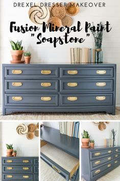 Dresser Makeover - Fusion Mineral Paint SOAPSTONE, finns hos www. Recycled Furniture, Refurbished Furniture, Colorful Furniture, Paint Furniture, Furniture Projects, Furniture Makeover, Bedroom Furniture, Furniture Design, Gray Painted Furniture