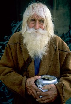 Sweet Dobri Dobrev. Known by locals as Grandpa Dobri, Saint Dobri, and the 'Divine stranger.' :0) city of Sofia Bulgaria. He walk to Sofia daily to beg for money, giving ALL to churches and orphanages. ~ Bless this man.