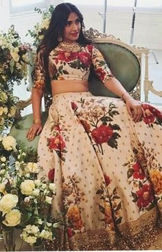 Check out all stunning designer lehenga designs inspirations to take from Bollywood celebrity real life lehengas with unique styles. Indian Wedding Outfits, Bridal Outfits, Indian Outfits, Indian Clothes, Indian Engagement Outfit, Floral Lehenga, Lehenga Style, Silk Lehenga, Kurta Lehenga