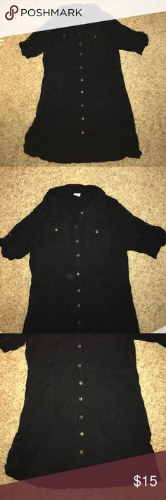 Collared casual Black Dress Size large. Collared with many cute buttons. Length is above knees but varies on how tall you are. Paper Crane Dresses