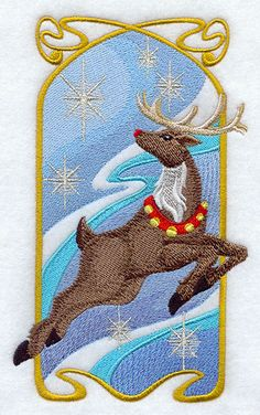 Art Nouveau Reindeer - Embroidered Terry Kitchen Towel Bathroom Hand Towel on Etsy, $20.00