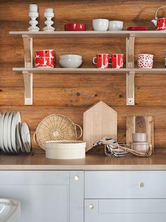 ikea knoxhult Ikea Kitchen, Kitchen Hacks, Knoxhult Ikea, Scandinavian Cabin, Marimekko, Cottage, Shelves, Interior Design, Projects To Try