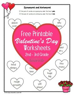 In this FREE worksheet set, your 2nd or 3rd grader can practice math and language arts with a fun Valentine's theme. | The Happy Housewife