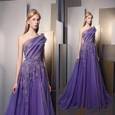 Classic 2016 Prom Dresses One Shouler Ruched Lace Applique Beads Evening Dress Luxury Purple Long Vintage Formal Party Gowns Custom Made