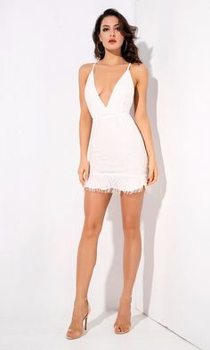 Light A Fire White Glitter Geometric Pattern Sleeveless Spaghetti Strap Plunge V Neck Backless Ruffle Bodycon Mini Dress Classy Short Dresses, Sexy Dresses, Dress Outfits, Girls Dresses, Fashion Days, Fashion Outfits, Girls In Mini Skirts, Light Dress, Pretty Lingerie
