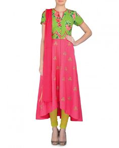 Thread Embroidered Coral Pink and Green Anarkali Suit - Sonia Saxena