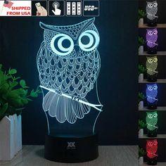 Ship từ usa-us owl 3d ánh sáng ban đêm rgb có thể thay đổi mood đèn led nhẹ dc 5 v usb đèn bàn trang trí có được một free điều khiển từ xa