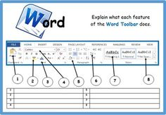 A nice activity for students in which they label and explain the different parts of the Word 2016 Toolbar. Computer Lab Lessons, Computer Lab Classroom, Computer Literacy, Computer Teacher, Teaching Computers, School Computers, Computer Basics, Computer Class, Computer Science