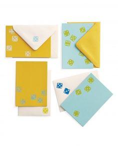 Stationery, block-printed using dice