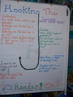 """Hook the Reader I think to introduce hooks in a story the student should have the option of playing with writing with different hooks.  To do this you could challenge them to use different strength levels of hooks by inviting them to go """"fishing"""".  Minnow=little hook, Bass Fish=medium hook, Shark=huge hook.  Could be done with a sticky hand and fish on the wall.  :)"""