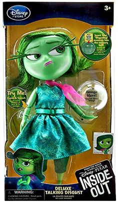 Disney / Pixar Inside Out Disgust Talking Action Figure Dislike, totally''Whatever,'' moans Disgust, who is who is totally over it! Inspired by Riley's less Disney Pixar, Baby Disney, Disney Nursery, Disney Cars, Inside Out Toys, Disney Inside Out, Best Kids Toys, All Toys, Disney Souvenirs